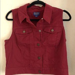 Women's Pendleton dark red denim vest